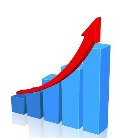 graficos de barras: Diagrama de azul y flecha roja sobre el fondo blanco, ilustraci�n
