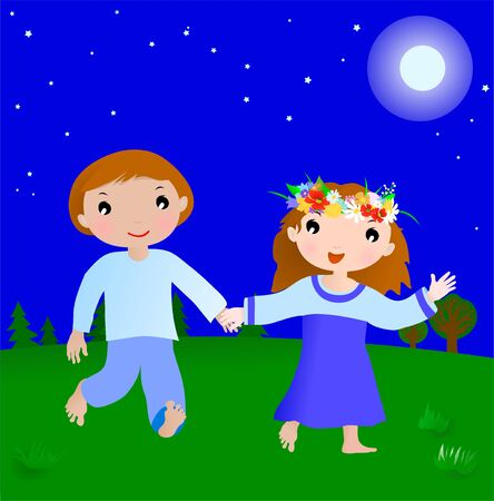 Happy couple cartoon boy and girl in the night, illustration Vector