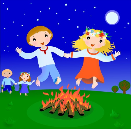 Happy couple cartoon boy and girl jump trough fire in the night, illustration Illustration