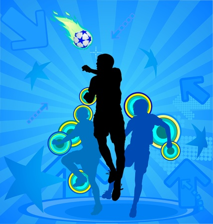 Soccer players silhouette and ball on the blue abstract background, vector illustration Vector