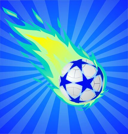 Fiery soccer ball on the blue background, vector illustration