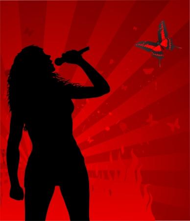 mic: sagoma cantante donna sullo sfondo rosso astratto, illustrazione vettoriale