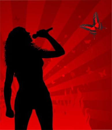 woman singer silhouette on the abstract red background, vector illustration Illustration