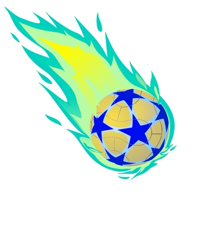 Fiery soccer ball on the white background, vector illustration