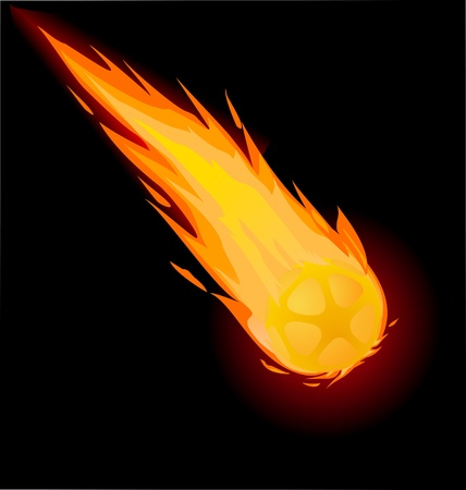 Fiery ball on the black background, vector illustration Vector
