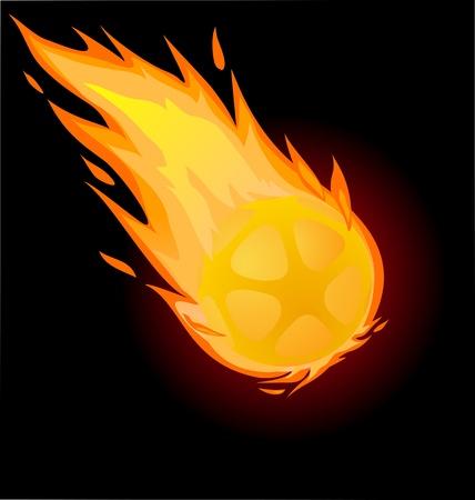 Bola ardiente sobre fondo negro, ilustración vectorial