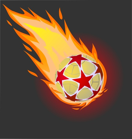 Fiery soccer ball on the black background, vector illustration