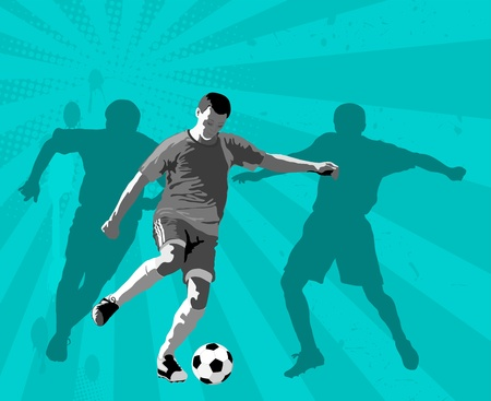 Soccer player, silhouette and ball  Illustration