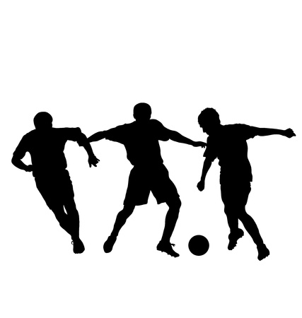 voetbal silhouet: Voetballers silhouet, vector illustratie