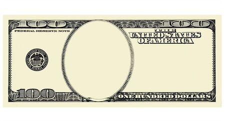 100 Dollar Bill Voorkant met copyspace, geïsoleerd voor ontwerp op wit Stockfoto