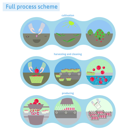 producing: Apple juice producing full process scheme.