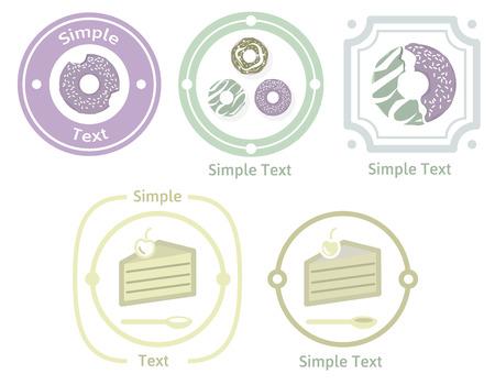 sweetshop: Cafe and Sweetshop logos and badges set Illustration