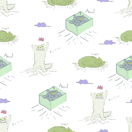 petshop: Seamless pattern with cats and mice. Illustration ordinary cat life: sleeping, hunting, playing.