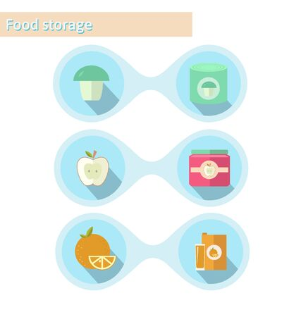 food storage: Food storage elements: juice, jam, canned goods. Illustration