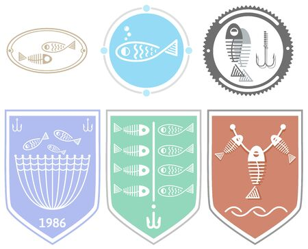 seine: Fish icons and badges set.