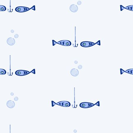 fishhook: Seamless pattern with fishes and bubbles on blue background.