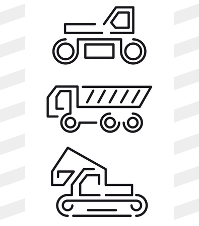 rink: Road construction machinery icons. Set of three machines: rink, tipper, excavator.