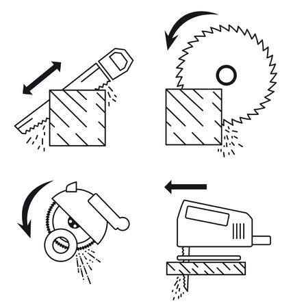 principle: Set of icons depicting principle of work with saw tools. Saw tools set: hand saw, circular saw, fretsaw, Angle machine (Cutting machine). Illustration