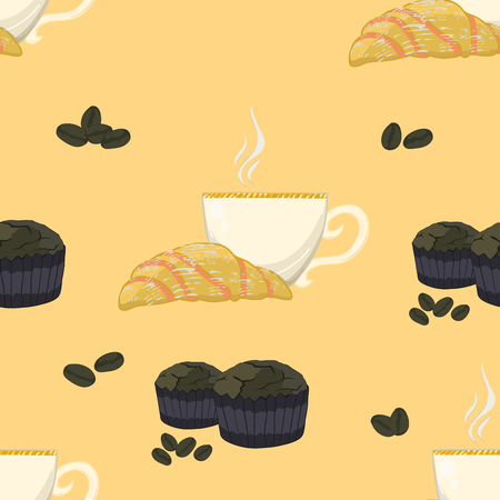 muffins: Seamless pattern with croissant, cup of hot coffee, muffins and coffee-seeds all around.