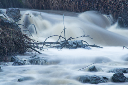 Stormy waterfall. Part of wastewater treatment system. Close view. Stock Photo