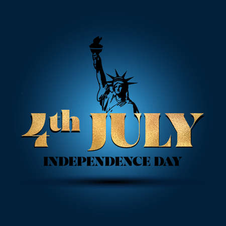 Happy Independence Day July 4 - lettering design illustration in vector eps 10. Good for advertising, poster, announcement, invitation, party, greeting card, banner, gifts, printing press. Ilustração