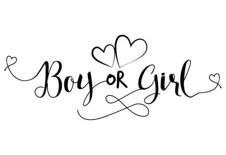 Boy of Girl? ' - Pregnant vector illustration. Typography illustration for pregnants. Good for scrap booking, posters, greeting cards, banners, textiles, T-shirts, mugs or other gifts, baby clothes.
