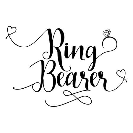 Ring Bearer - Hand lettering typography text in vector. Good for scrap booking, posters, textiles, gifts, wedding sets.