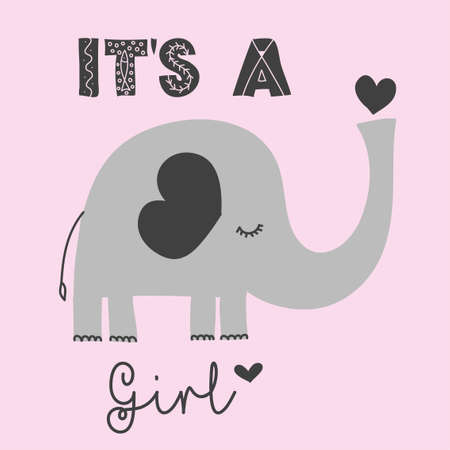 Its a girl - cute elephant  decoration. Little elephant set, posters for nursery room, greeting cards, kids and baby clothes. Isolated vector.