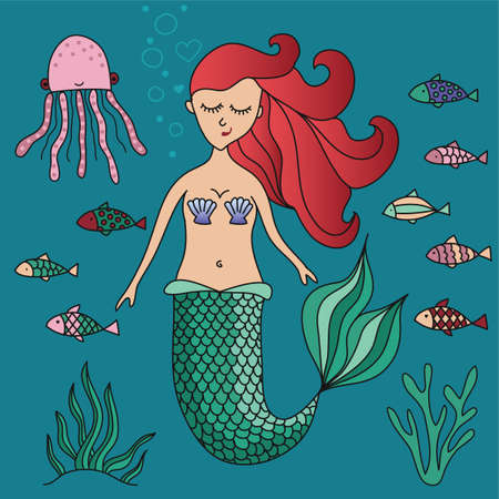 Lovely little mermaid - funny hand drawn doodle, Lettering poster or t-shirt textile graphic design. / wallpaper, wrapping paper, background. Foto de archivo - 134556412