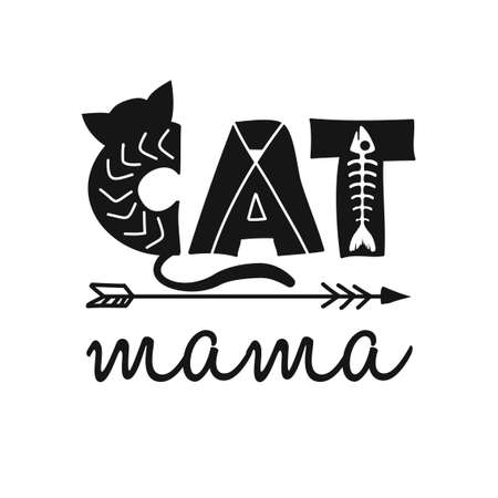 cat mama - funny quote design. Vector eps 10 illustration of kitten calligraphy sign for print. Cute cat poster with lettering, mustache, ears and sound meow. Foto de archivo - 134556414