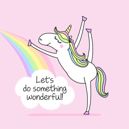 Let's do something wonderful - funny vector quotes and unicorn drawing. Lettering poster or t-shirt textile graphic design. / Cute unicorn character illustration on isolated blue background. Vektorgrafik
