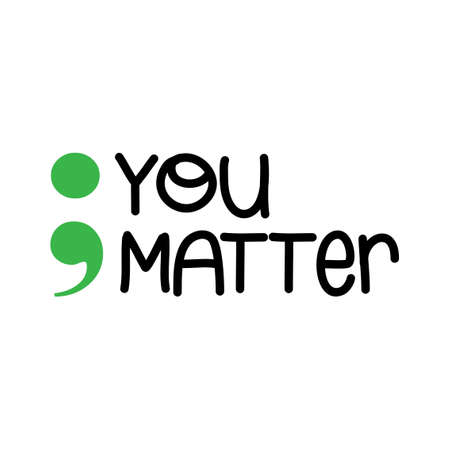 You Matter Mental Health - hand drawn World Mental Health Day - Awareness month lettering phrase. Brush ink vector quote for banners, greeting card, poster design. Illustration