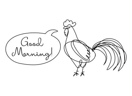 Good Morning text with line art Rooster - funny inspirational lettering design for posters, flyers, t-shirts, cards, invitations, stickers, logos. Hand painted brush pen.