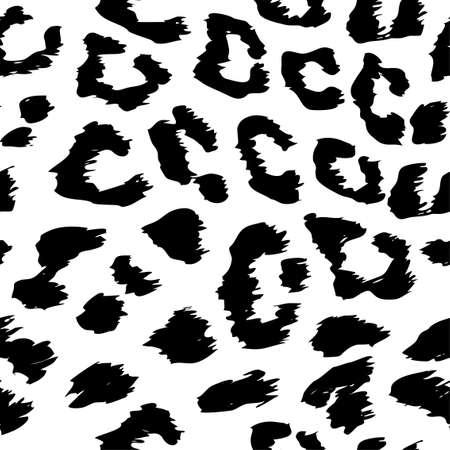 Disegno del modello del leopardo nei colori bianco e nero - modello senza cuciture di disegno monocromatico divertente. Lettering poster o t-shirt design grafico tessile. / carta da parati, carta da imballaggio.