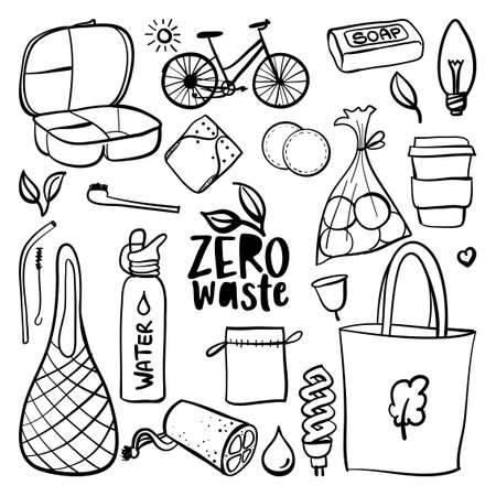 Zero waste reusable reusable items or products - Eco style. No plastic. Go green. Lettering poster t-shirt textile graphic design. Beautiful illustration protest against plastic garbage. Ilustración de vector