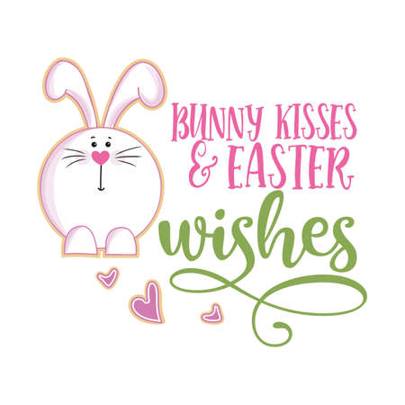 Bunny kisses and Easter wishes - Cute bunny saying. Funny calligraphy for spring holiday & Easter egg hunt. Perfect for advertising, poster, announcement or greeting card. Beautiful Cholcolat Rabbit.