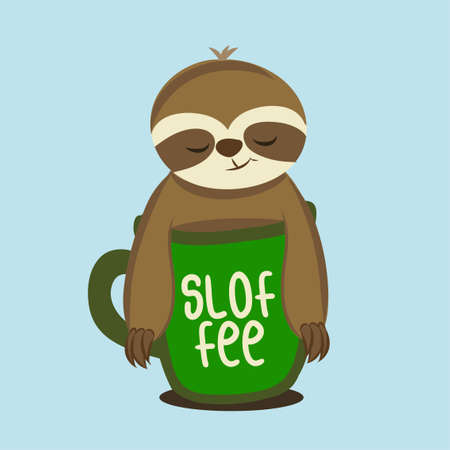 Sloffee - Cute Sloth relax in a cup of coffee. Hand drawn lettering for greetings cards, invitations. Good for t-shirt, mug, scrap booking, gift.
