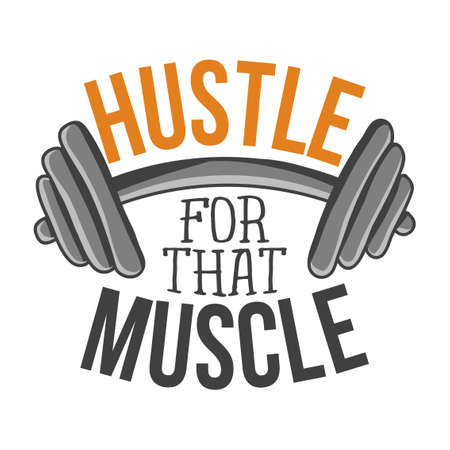 Hustle for that muscle - lovely lettering calligraphy quote. Gym wisdom or t-shirt. Motivation poster. Modern vector design. Çizim