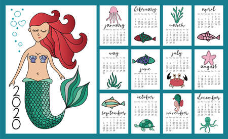 Little mermaid and marine life calendar for 2020 year. Cute design, printable planner of 12 months with cute fishes. Week starts on Sunday. Standard size, ready to print.