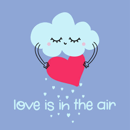 Love is in the air - cute Cloud decoration with hearts rain, good for posters for nursery room, Valentines Day greeting cards, kids and baby clothes. Isolated vector.