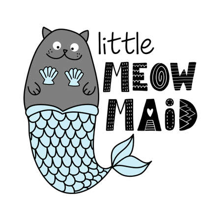 Little meowmaid (mermaid) - doodle character, funny hand drawn design with mermaid cat. Good for poster, wallpaper, t-shirt, gift, greeting card, coloring book, holiday gift or cat lover quotes. Foto de archivo - 138473524