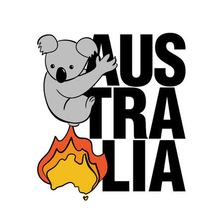Burning Australia fleeing koala - Support wildlife and people in their hard time. Record-breaking temperatures and months of severe drought have fuelled a series of massive bushfires across Australia