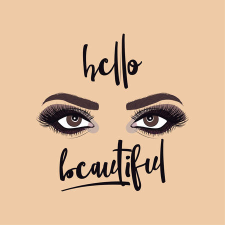 Hello Beautiful - Beautiful makeup illustration with womans eyes, eyelashes and eyebrows. Realistic sexy makeup look. Tattoo design. Logo for brow bar, makeup artist. or lash salon.