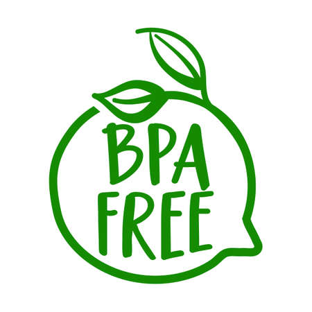 Bpa free - BPA bisphenol A and phthalates free flat badge vector icon for non toxic plastic Element for labels, stickers or icons, t-shirts or mugs. healthy food design. Go healthy.