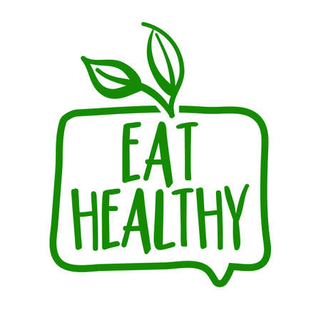 Eat healthy - Support healthy food, buy fresh products. Flat vector illustrations on white background. Element for labels, stickers or icons, t-shirts or mugs. healthy food design. Go healthy.