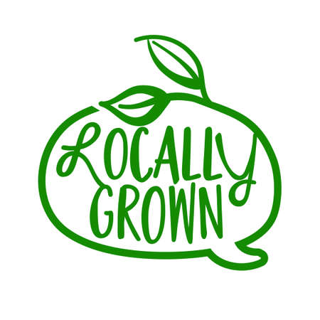 Locally grown - Support local business, buy local products. Flat vector illustrations on white background. Element for labels, stickers or icons, t-shirts or mugs. healthy food design. Go healthy. Illustration