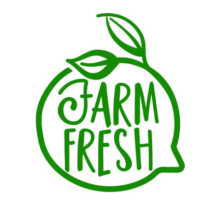 Farm fresh - Support farmhouse business, buy fresh products. Flat vector illustrations on white background. Element for labels, stickers or icons, t-shirts or mugs. healthy food design. Go healthy. Illustration