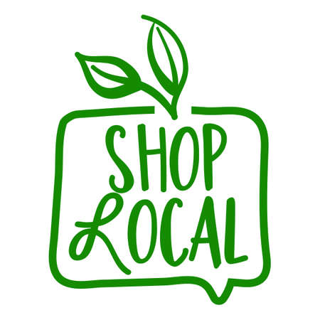 Shop local - Support local business, buy local products. Flat vector illustrations on white background. Element for labels, stickers or icons, t-shirts or mugs. healthy food design. Go healthy.