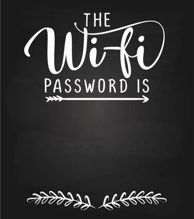The wifi password is: - black chalkboard with free space for wifi login. Guest poster for hotel, pub, bar, WIFI, user and password word on frame with wood wall background. 版權商用圖片 - 142087110
