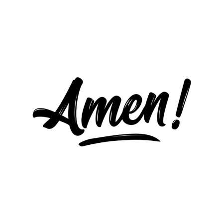 Amen - Hand written Vector calligraphy lettering text in cross shape. Christianity quote for design. Typography poster. Tattoo. Illustration